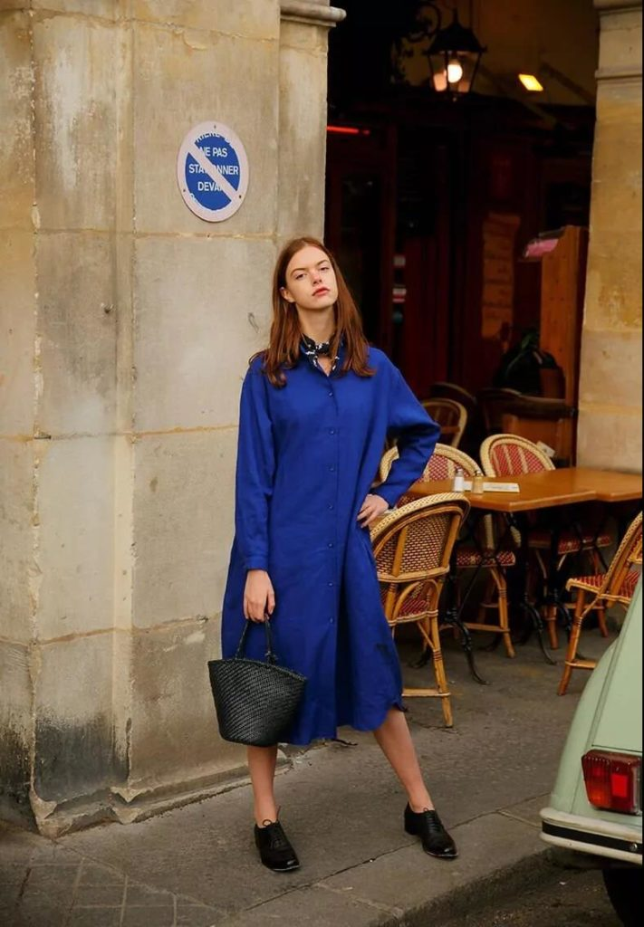 blue over-sized long shirt for outfit