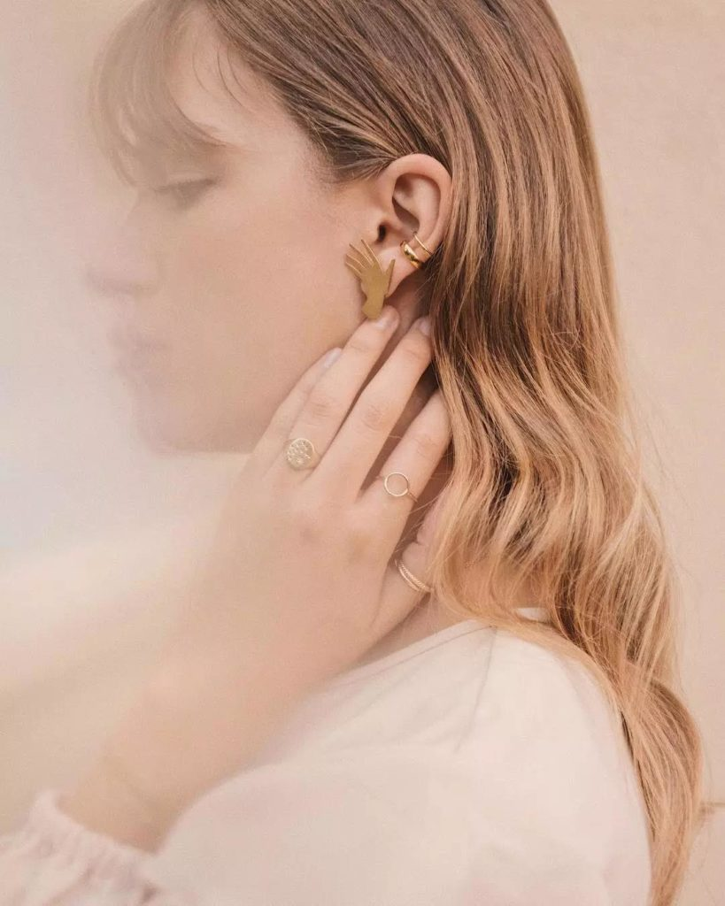 characteristic unique rose gold ear stud