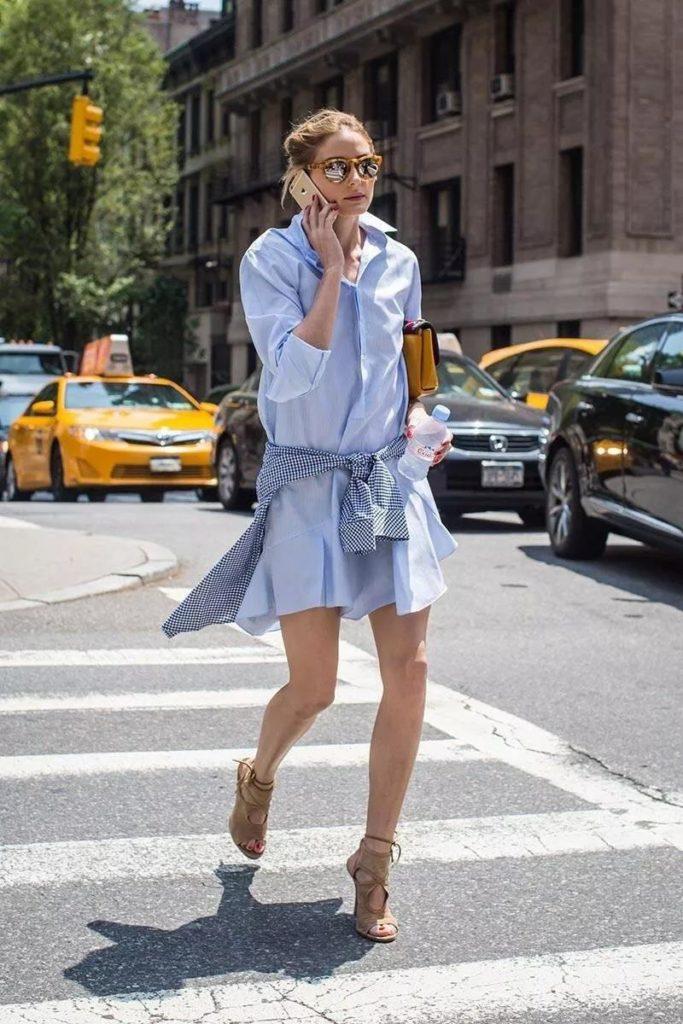 classic blue long shirt dress