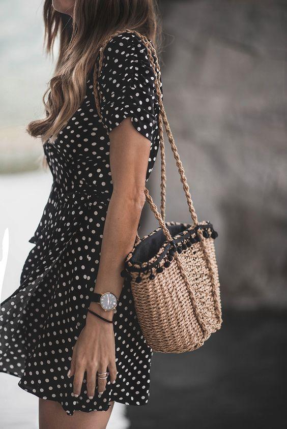 retro laid-back black polka dot outfit