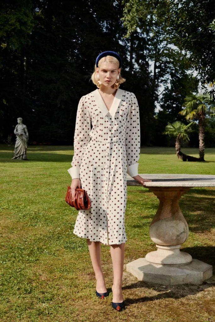 retro white polka dot dress