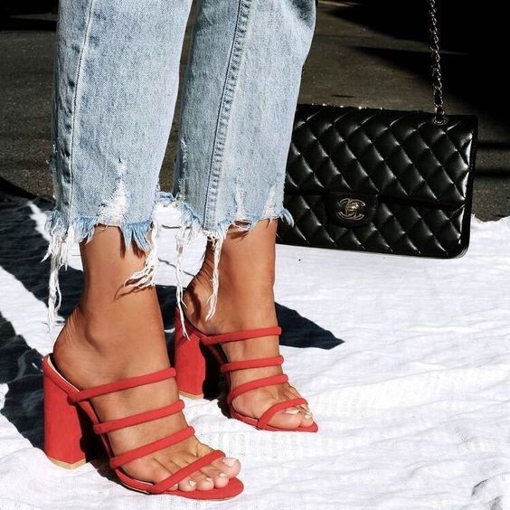 sexy red strappy sandal to give you a chic look