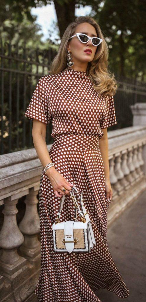 silk polka dot dress with high neck