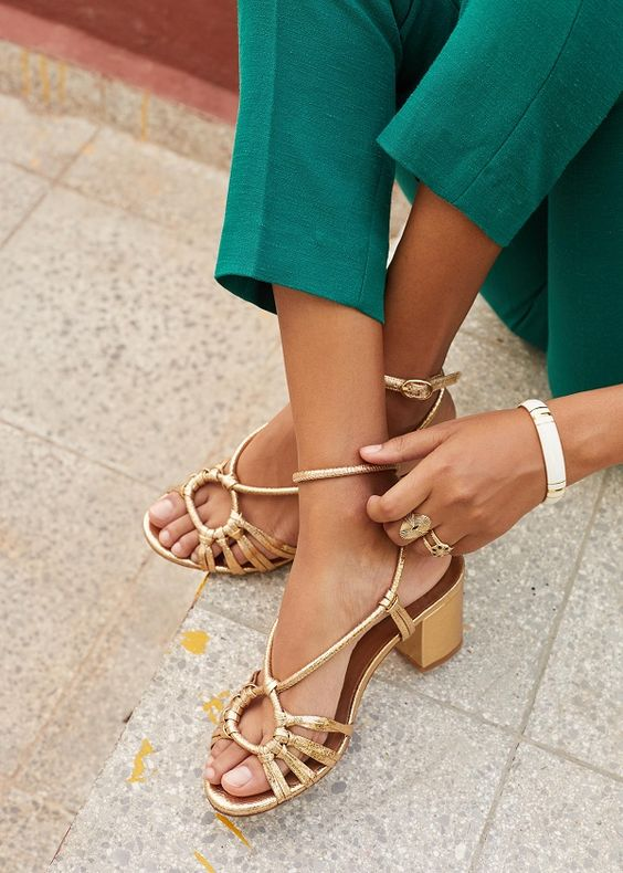 lovely and chic gold sandals