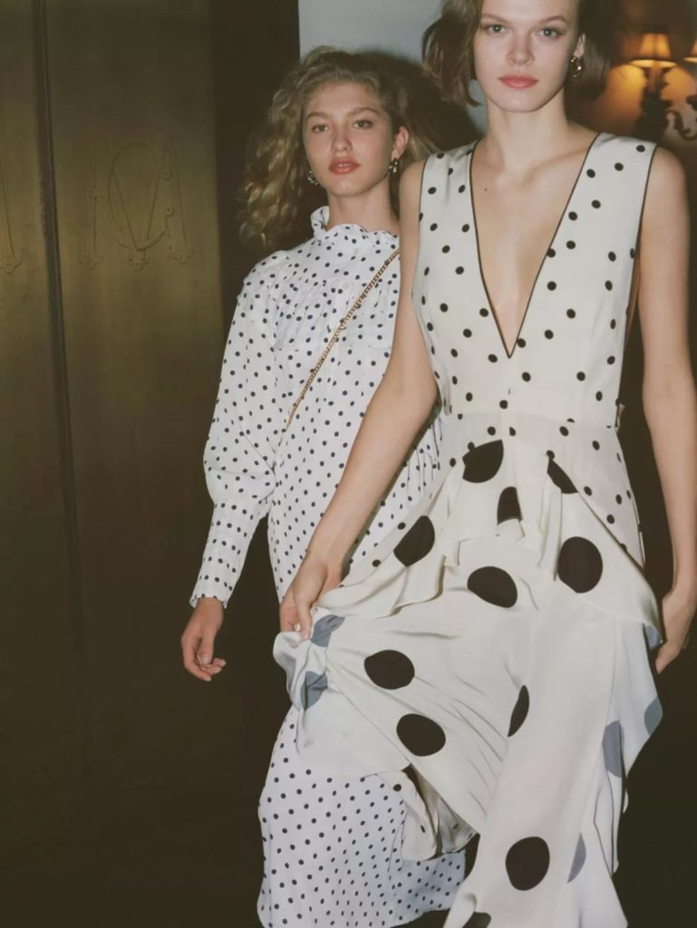 stylish black and white polka dot dress