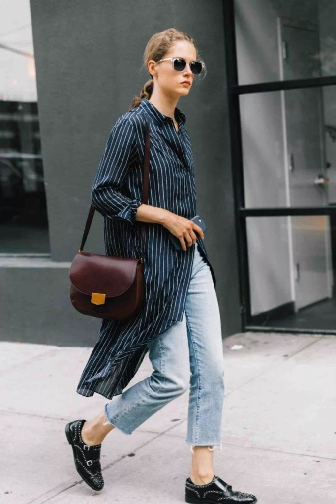 stylish long shirt with jeans