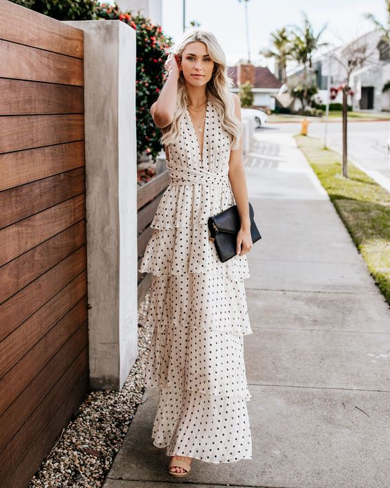 tiered white polka dot maxi dress