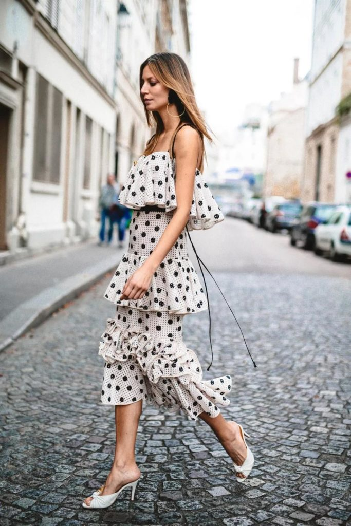 white polka dot dress with multi-layers