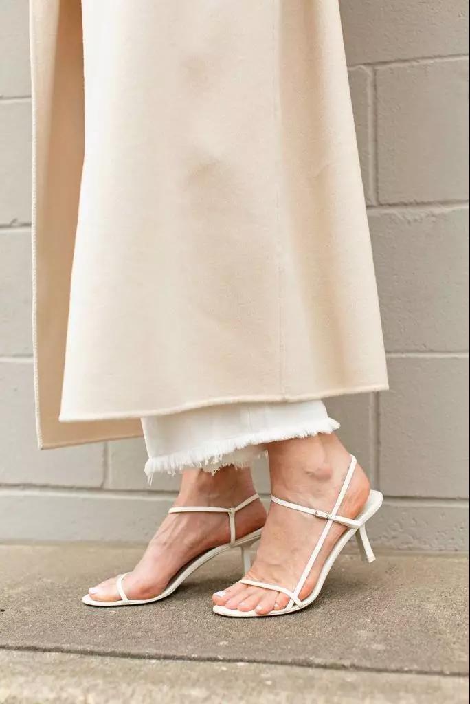 white strappy sandals with medium heel