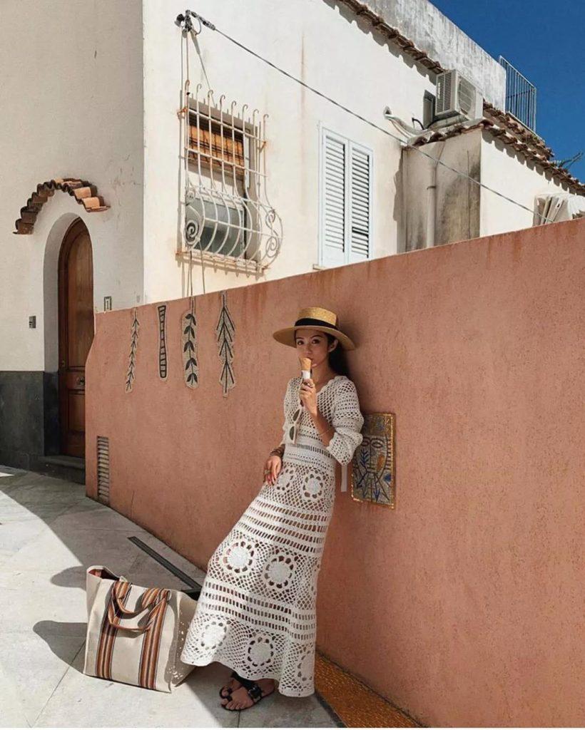 amazing bohemian inspired white dress from Self Portrait