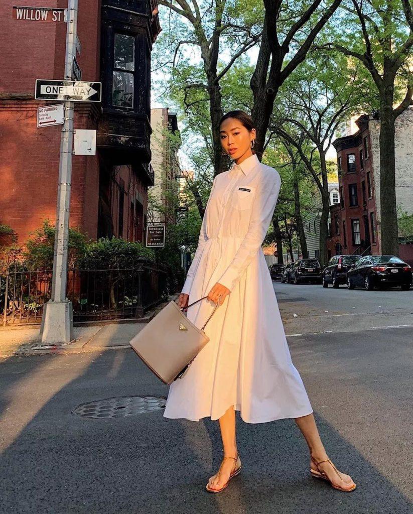 amazing stylish white dress from Prada