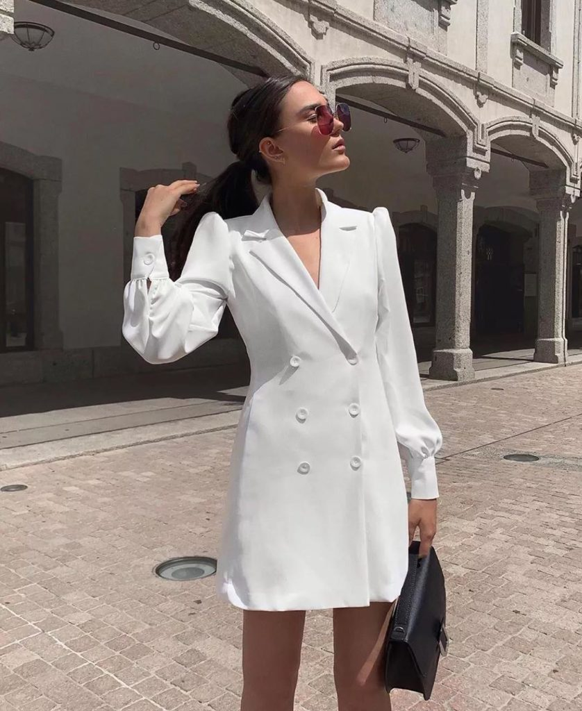 awesome one piece white dress with double-breasted design