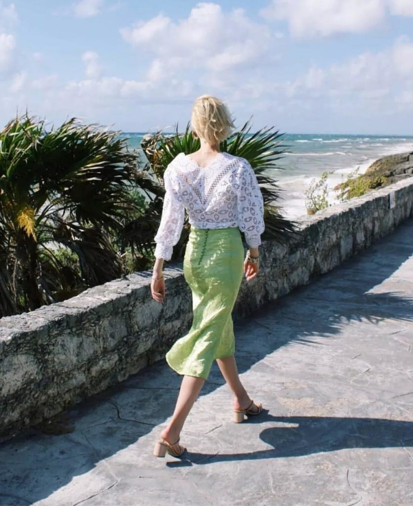 figure-flattering silk  avocado green skirt
