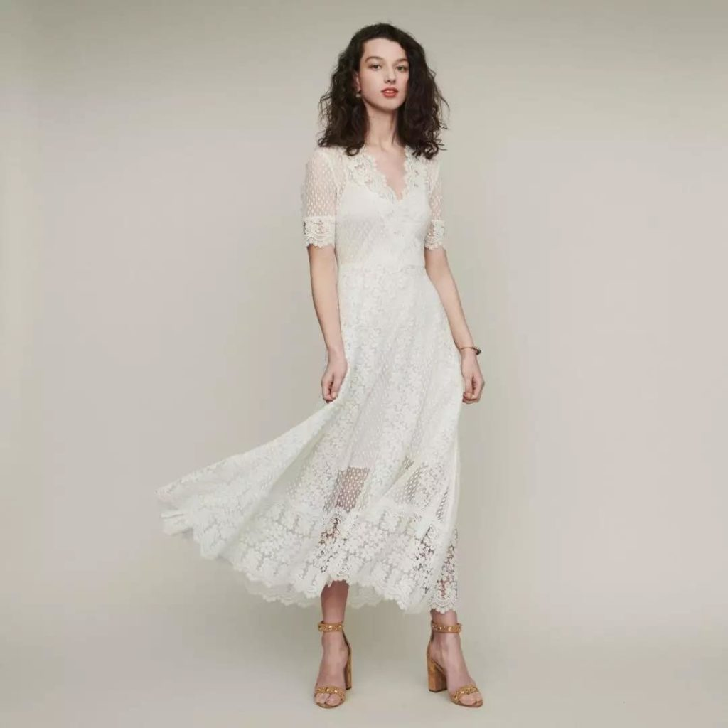 romantic embroidery white dress with wavy hem