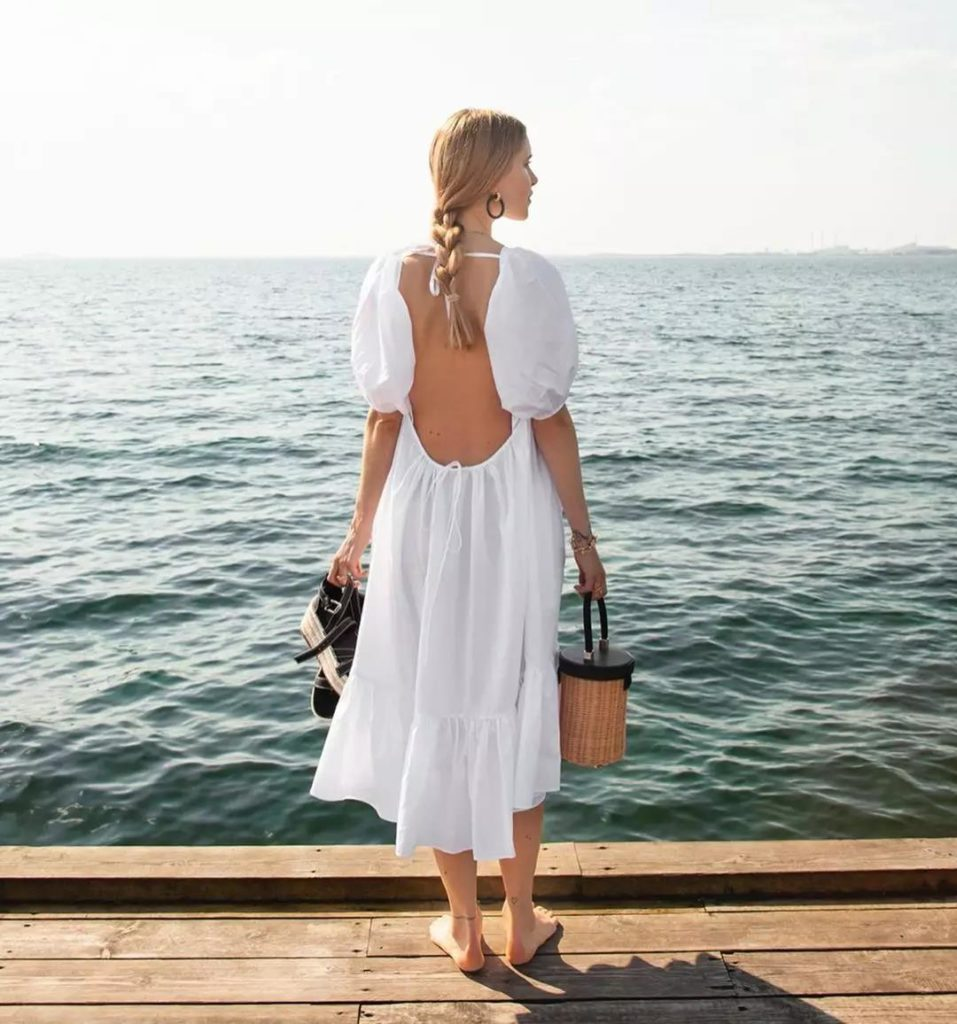 simple and comfortable white dress perfect for holidays