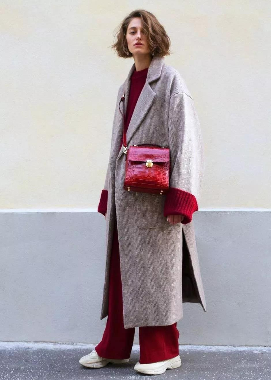 Classic burgundy pants with grey coat